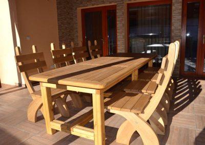 Tölgy étkező asztal és szék